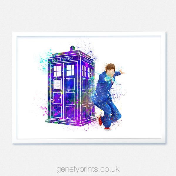 600x600 David Tennant Doctor Who 10th Doctor Amp Tardis Watercolor Print