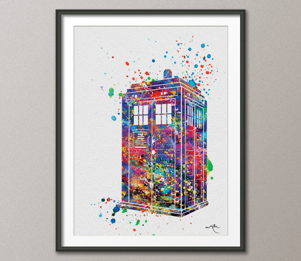 972x842 Decoration Fine Art Tardis Multi Colored Dr Who Watercolor