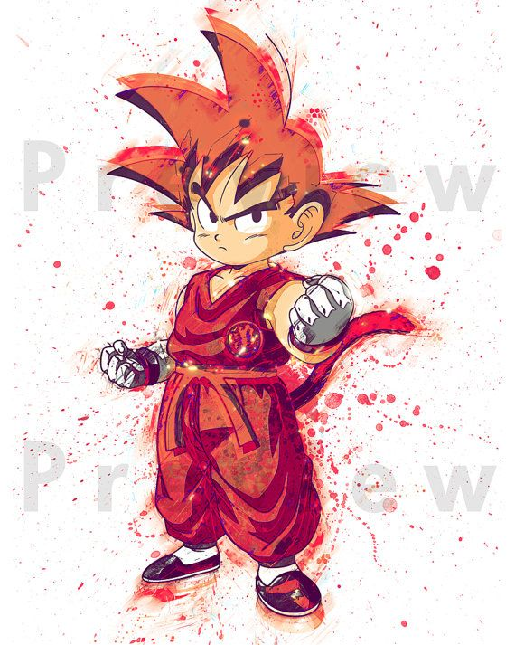 570x713 Watercolor Painting Dragon Ball Z Kid Goku. By Rightclicksaveas