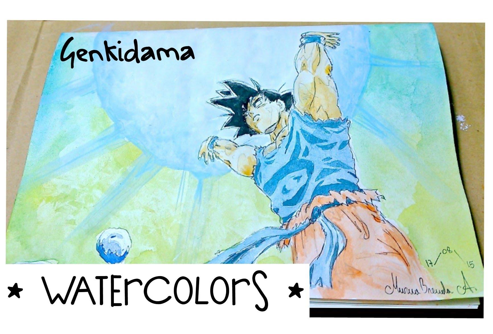 1731x1171 Watercolors Genkidama Dragon Ball Z Kai (Timelapse 1080phd