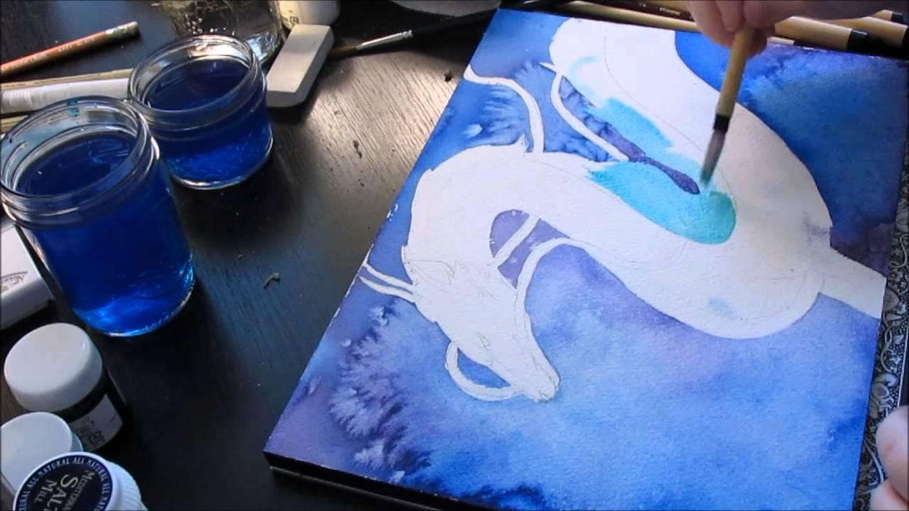 1280x720 Haku Dragon Form Spirited Away Watercolour Speed Painting