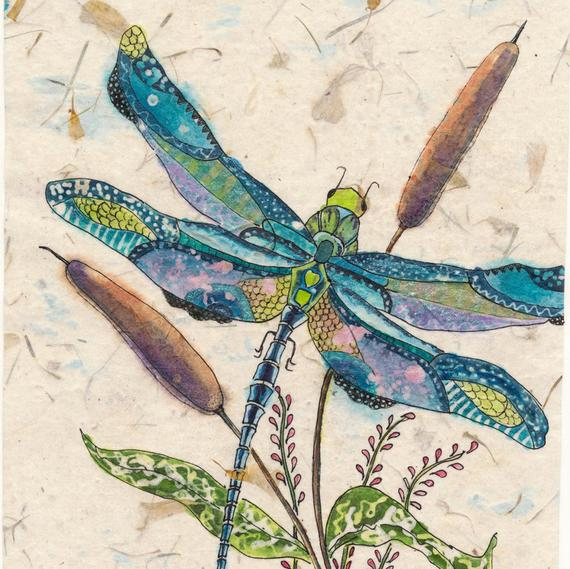 570x569 Dragonfly Painting Watercolor Painting Watercolor Paintings Etsy