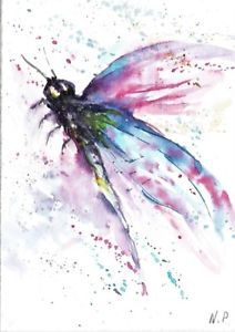 212x300 Aceo Original Dragonfly Painting Insects Painting Watercolour