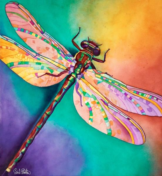 552x600 Illusion Signed Print From Original Watercolor Dragonfly Painting