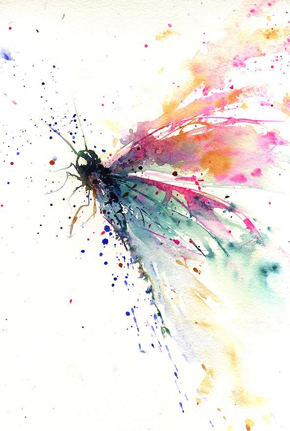 591x877 Jen Buckley Signed Limited Editon Print From Original Dragonfly Waterc