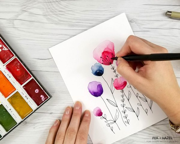600x480 Easy Watercolor Flowers Step By Step Tutorial Dawn Nicole