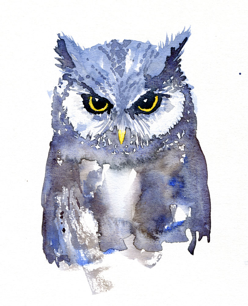 812x1000 Owl Watercolor, Front View The Hiking Artist Project By Frits