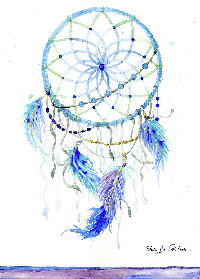 645x900 Watercolor Dream Catcher Lavender Blue Feathers 1 Painting By
