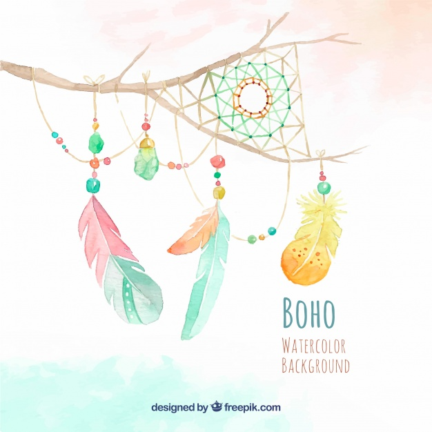 626x626 Watercolor Branch Background With Dream Catcher And Feather Vector