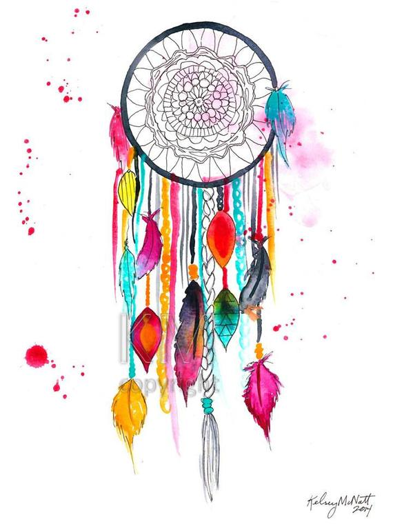 570x760 Dream Catcher 3 Watercolor Painting Home Decor Native Etsy