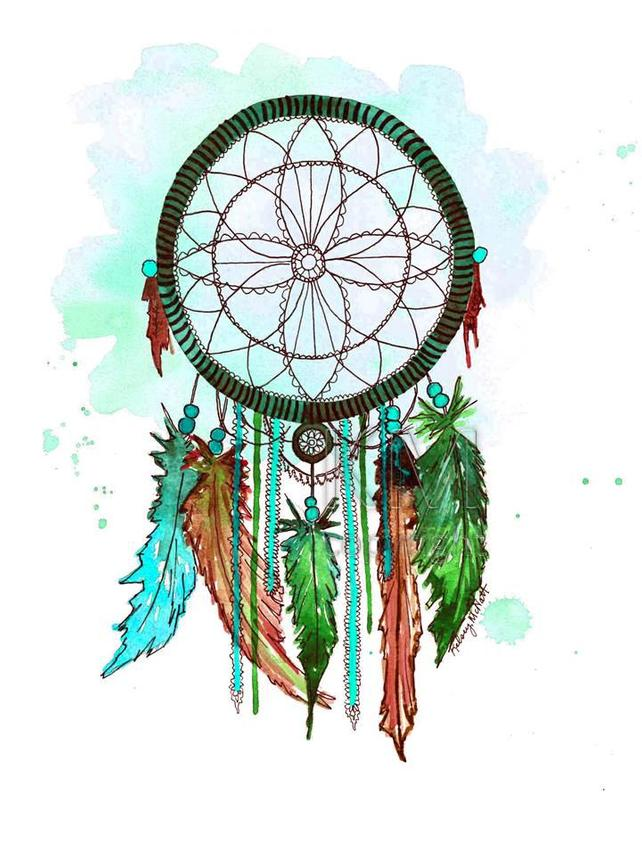 642x856 Dream Catcher 6 Watercolor Painting Home Native Etsy