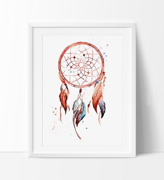 547x600 Dreamcatcher, Dreamcatcher Print, Watercolor Painting, Watercolor