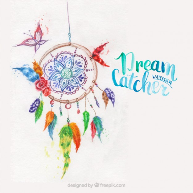 626x626 Dreamcatcher Painted With Watercolors Vector Free Download