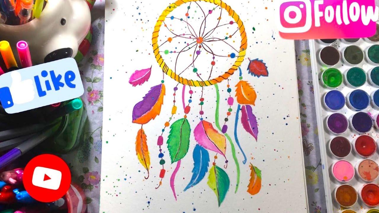1280x720 Watercolor Dreamcatcher Painting