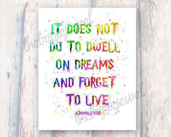 570x456 Dumbledore Watercolor Quote Print Digital Art Wall Art Etsy