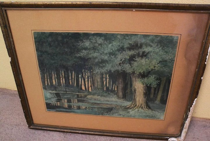 720x485 Circa 1890 Dutch Watercolor Of A Forest Interior Signed Arthur