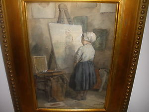 300x225 19thc Listed Johannes Weiland Dutch Watercolor Young Girl Self