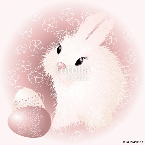 500x500 Easter Bunny Rabbit Vector Drawing, Detailed Hand Drawn Ester Buny