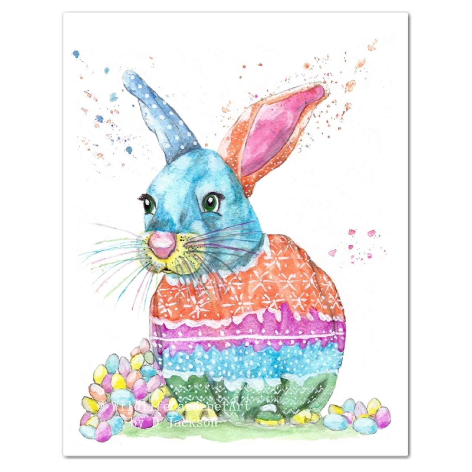 1600x1600 Easter Bunny Watercolor Art Print Wildlife Gardener Art