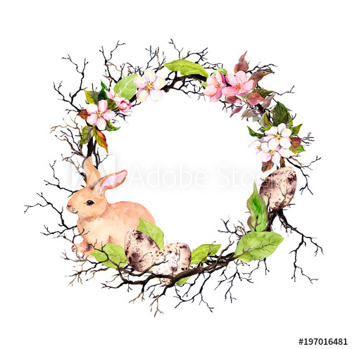 500x496 Easter Bunny, Eggs, Branches, Spring Flowers, Leaves. Floral