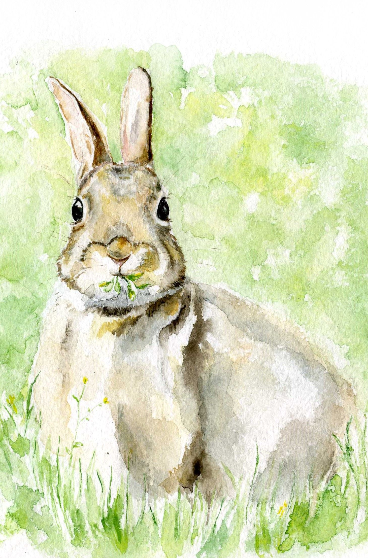 1461x2216 Easter Bunny Watercolor, Woodland Nursery, Hare Painting, Rabbit