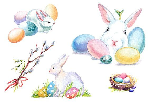 580x386 Easter Bunny Watercolor Clipart Set Graphic Design