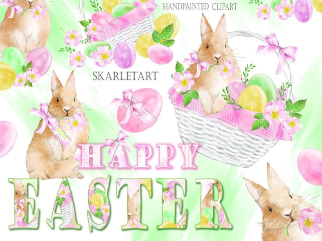 642x482 Easter Clipart Watercolor Clipart Easter Bunny Happy Easter Etsy