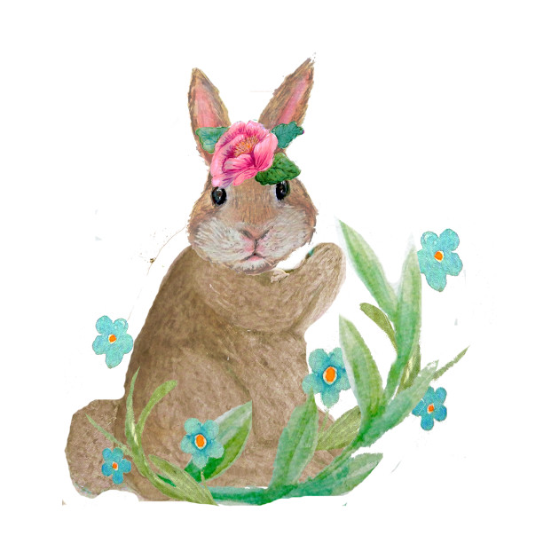630x630 Easter Rabbit, Spring Flowers, Watercolor