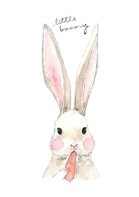 570x806 Fine Art Watercolor Original Illustration Print. Bunny. Eating
