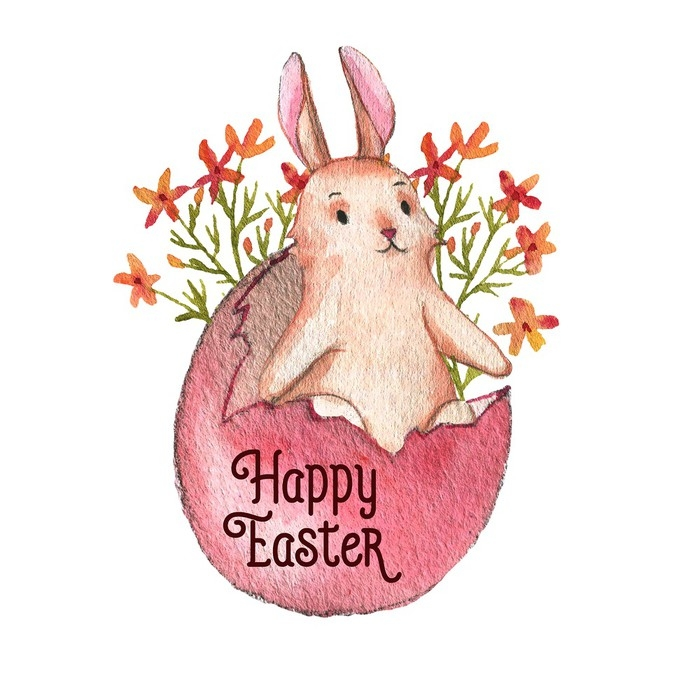 700x700 Hand Drawn Watercolor Easter Bunny, Colored Egg And Spring Flowers