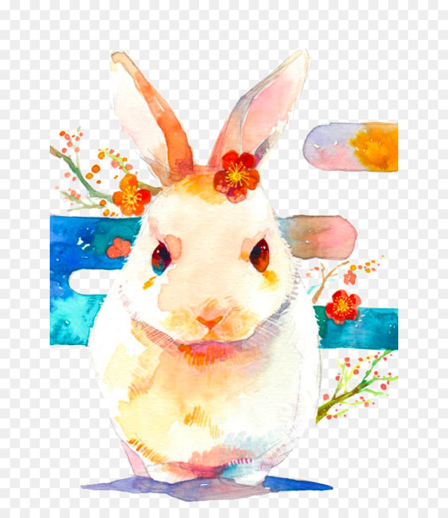900x1040 Netherland Dwarf Rabbit Easter Bunny Lola Bunny Watercolor