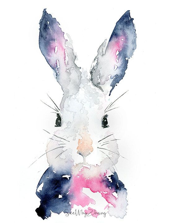 552x720 Rabbit Watercolor Art Print Easter Bunny Wall Art Modern Rabbit