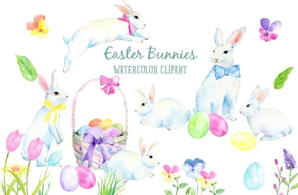 600x393 Watercolor Clipart Easter Bunnies, White Rabbits, Easter Eggs