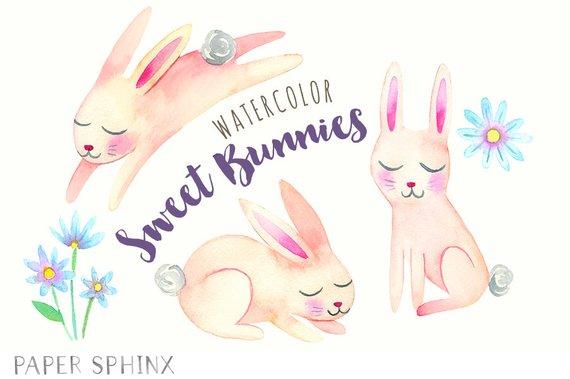 570x379 Watercolor Rabbits Clipart Printable Easter Bunnies Clip Art Etsy