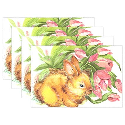 425x425 Naanle Easter Holiday Placemat Set Of 6, Rabbit Bunny