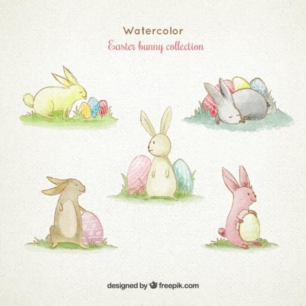 626x626 Watercolor Cute Easter Bunny Collection Vector Premium Download
