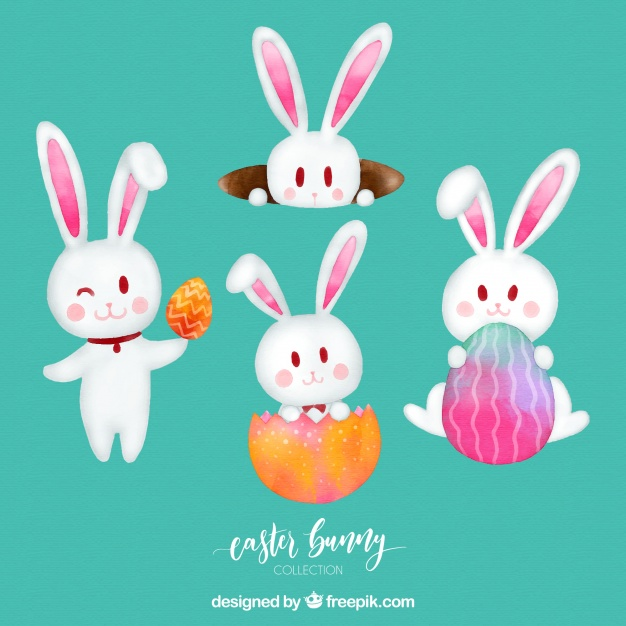 626x626 Watercolor Easter Bunny Collection Vector Free Download