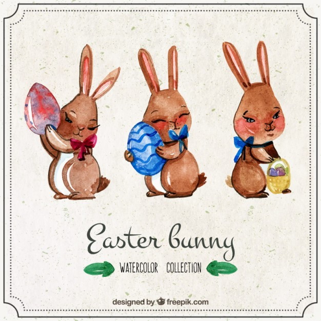 626x626 Watercolor Lovely Easter Bunny Stock Images