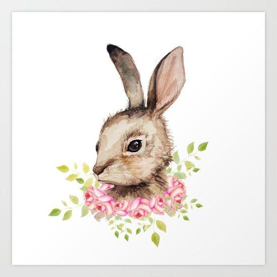 550x550 Bunny, Rabbit, Watercolor, Easter, Flowers Watercolor
