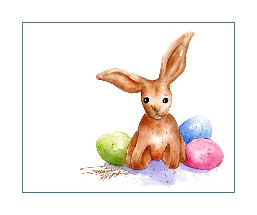 826x692 Sbwatercolors And Sketching Chocolate Bunny And Eggs
