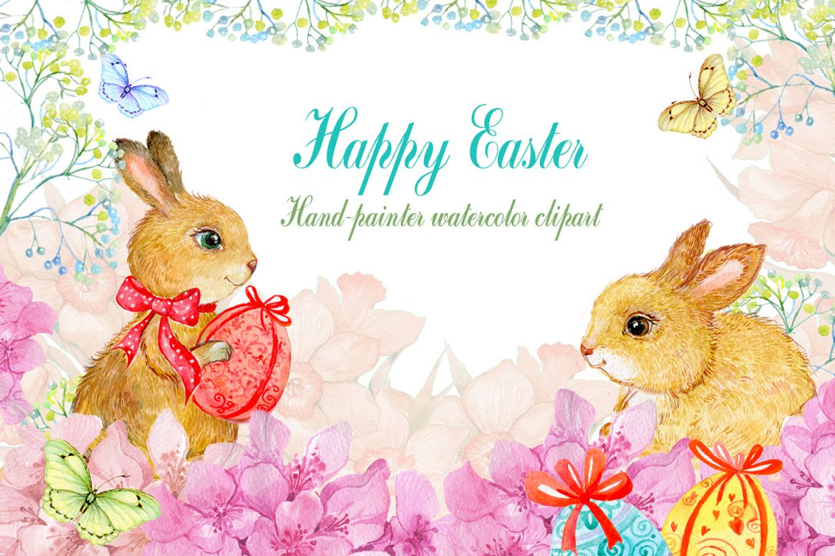 1200x800 Watercolor Clipart Easter Bunnies