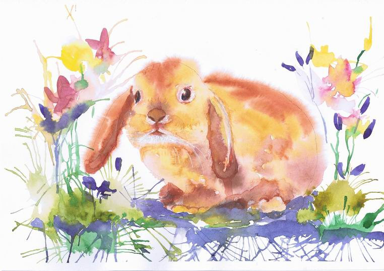 762x537 Bunny Watercolor Painting, Easter Art, Animals