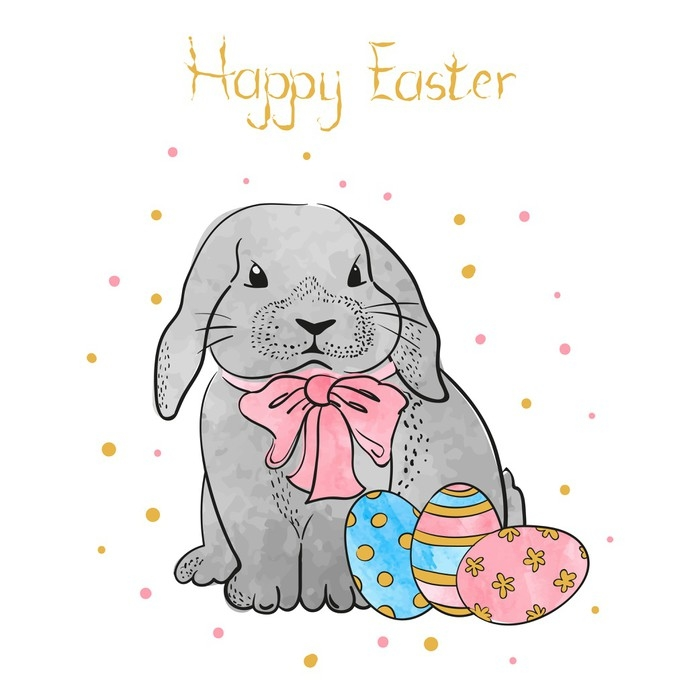 700x700 Cute Watercolor Easter Rabbit With Eggs. Vector Easter Bunny