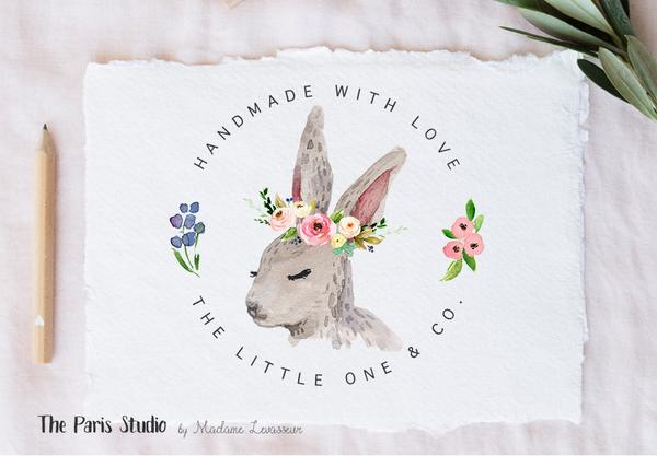 600x417 Easter Bunny Floral Watercolor Wreath Logo Design By The Paris