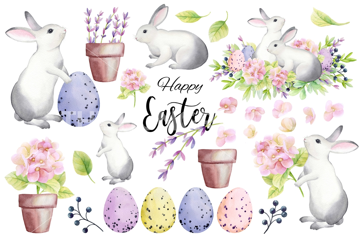 1160x772 Happy Easter! Watercolor Set By Colibriwatercolor