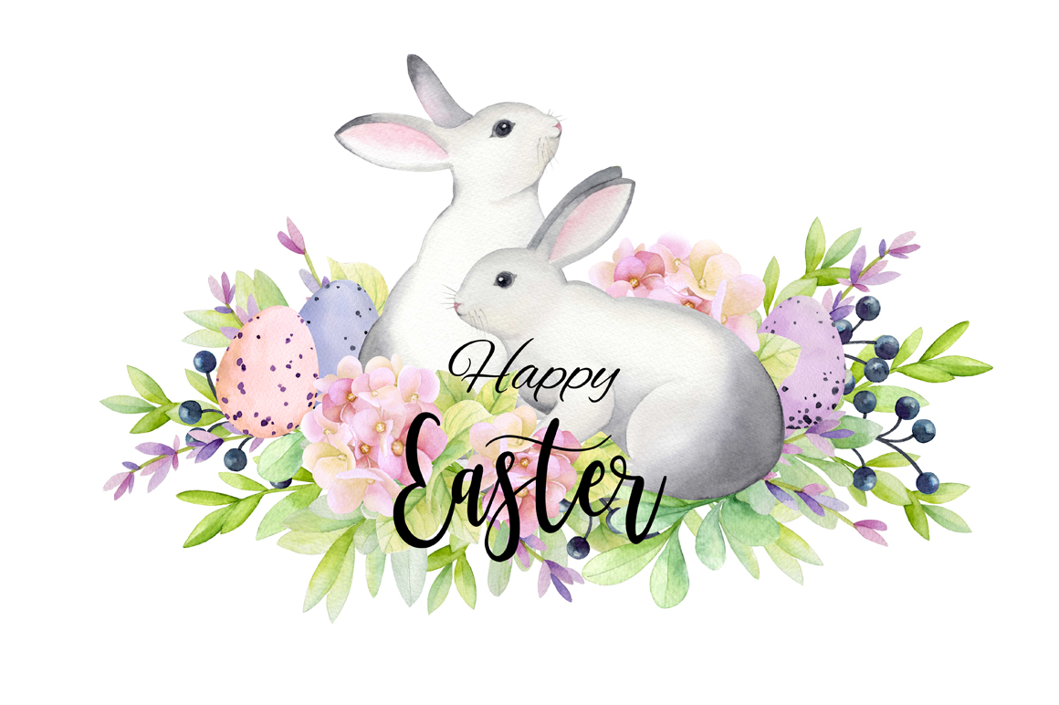 1160x772 Happy Easter! Watercolor Set.