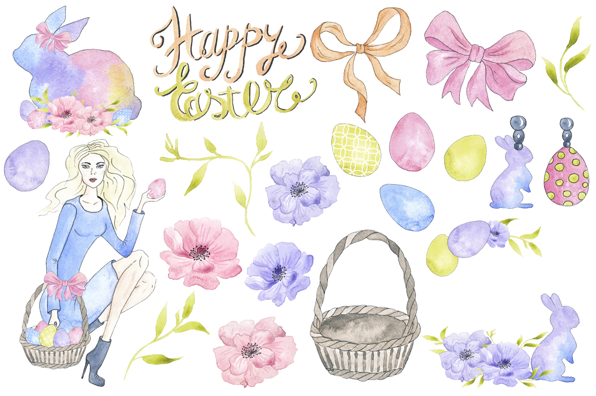 1160x772 Happy Easter Watercolor Collection By Tanya Kart