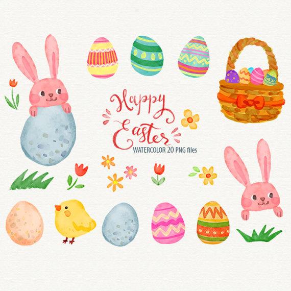 570x570 Happy Easter Watercolor Clipart Rabbit Clip Art Bunny Easter