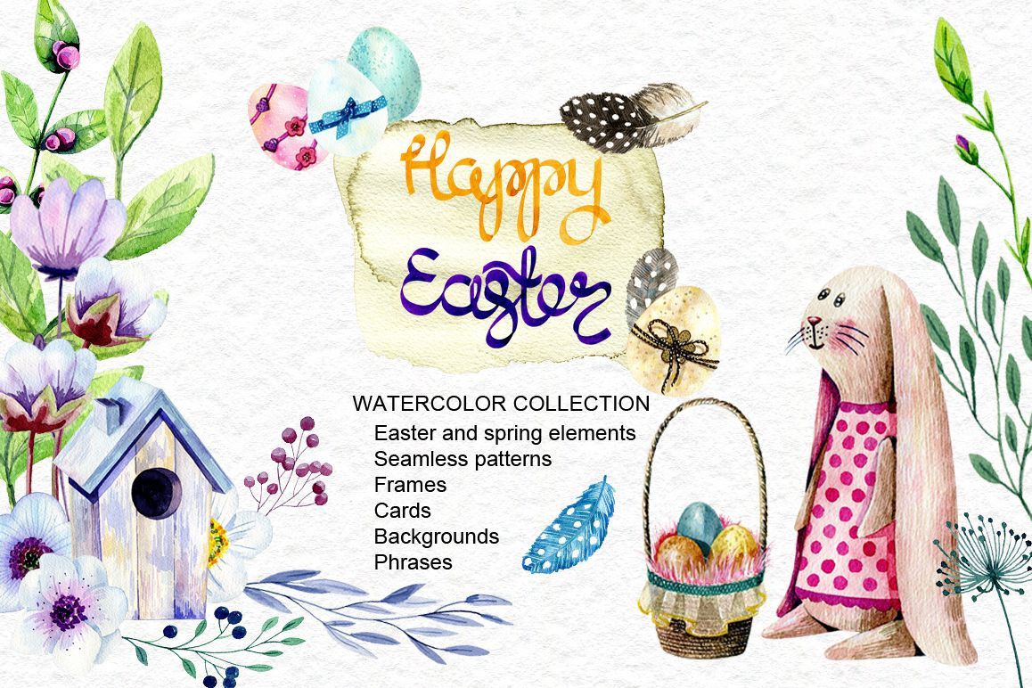 1158x772 Happy Easter. Watercolor Collection