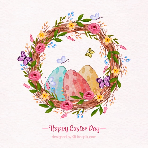 626x626 Happy Easter Day Background In Watercolor Style Vector Free Download